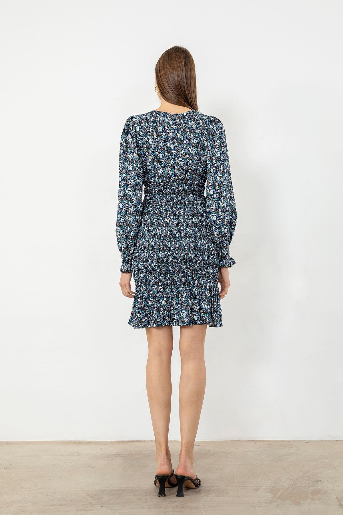 Çiçek Desen Gipeli Elbise-Mavi