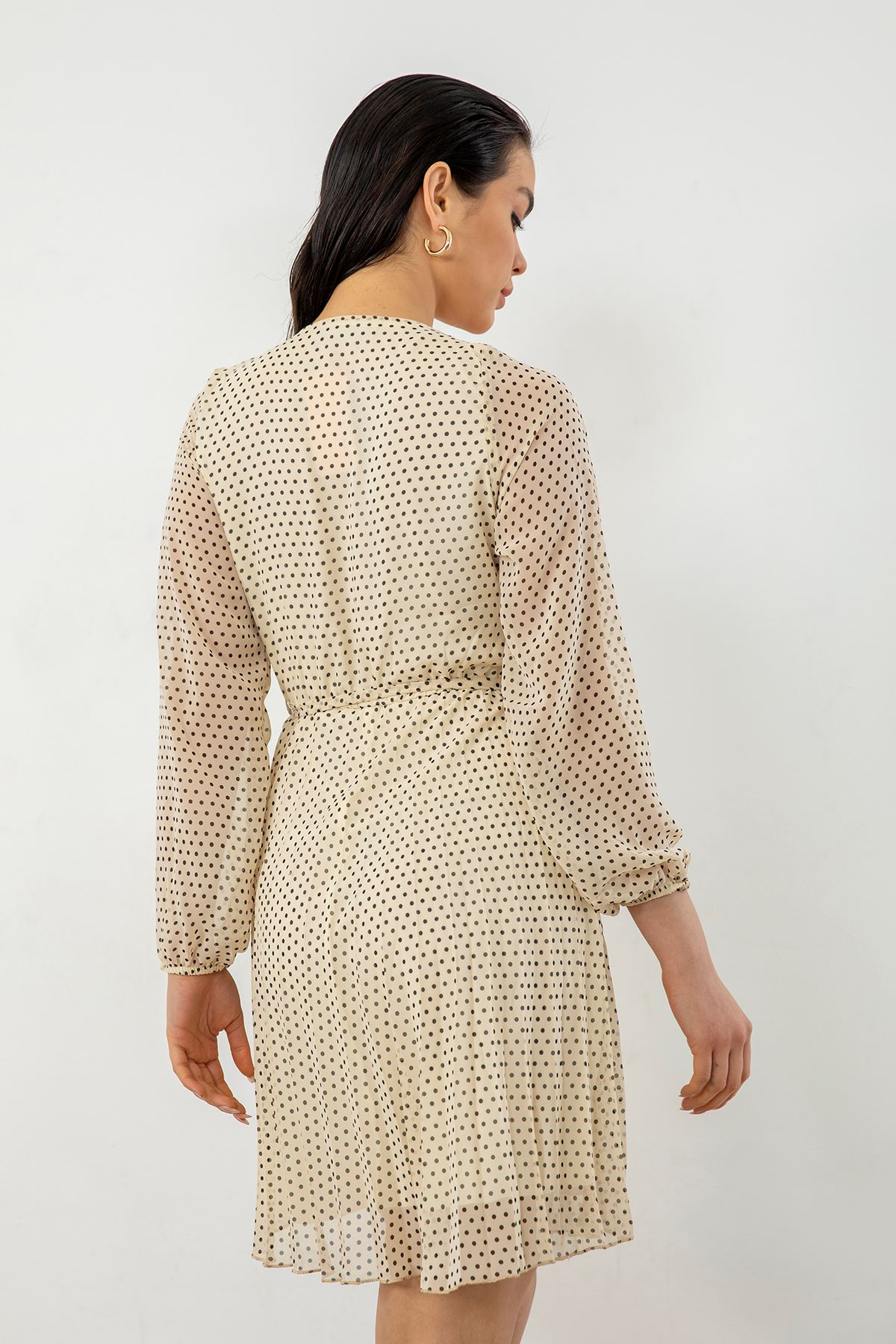 Piliseli Şifon Elbise-Bej