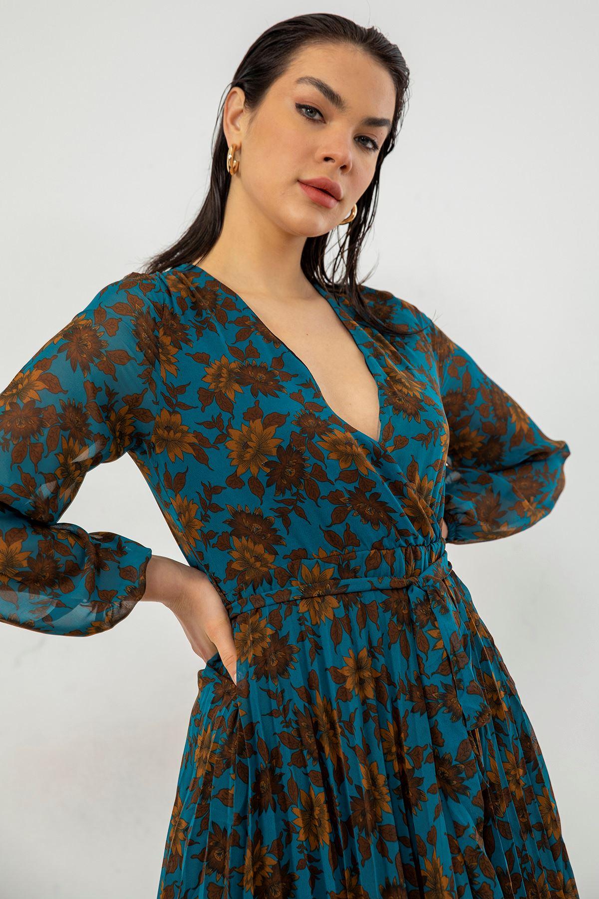 Piliseli Şifon Elbise-Turkuaz