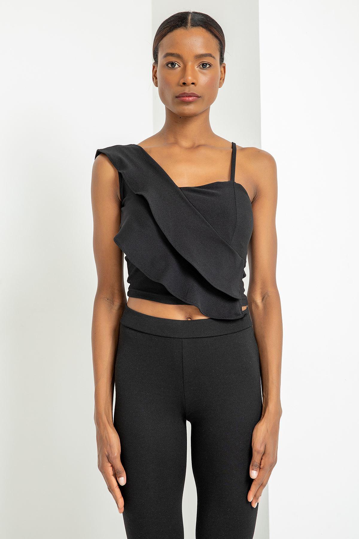 Fırfırlı Askılı Bluz-Siyah