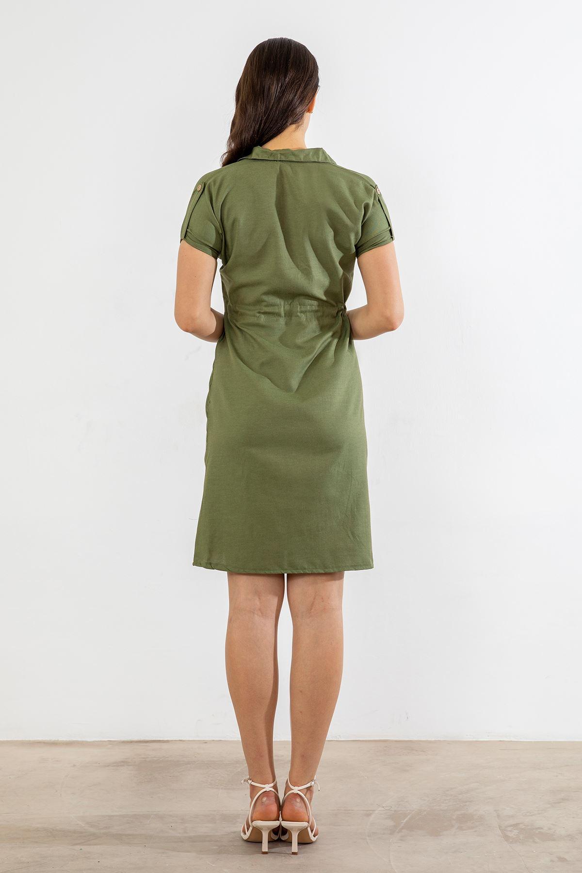 Beli Büzgülü Elbise-Haki