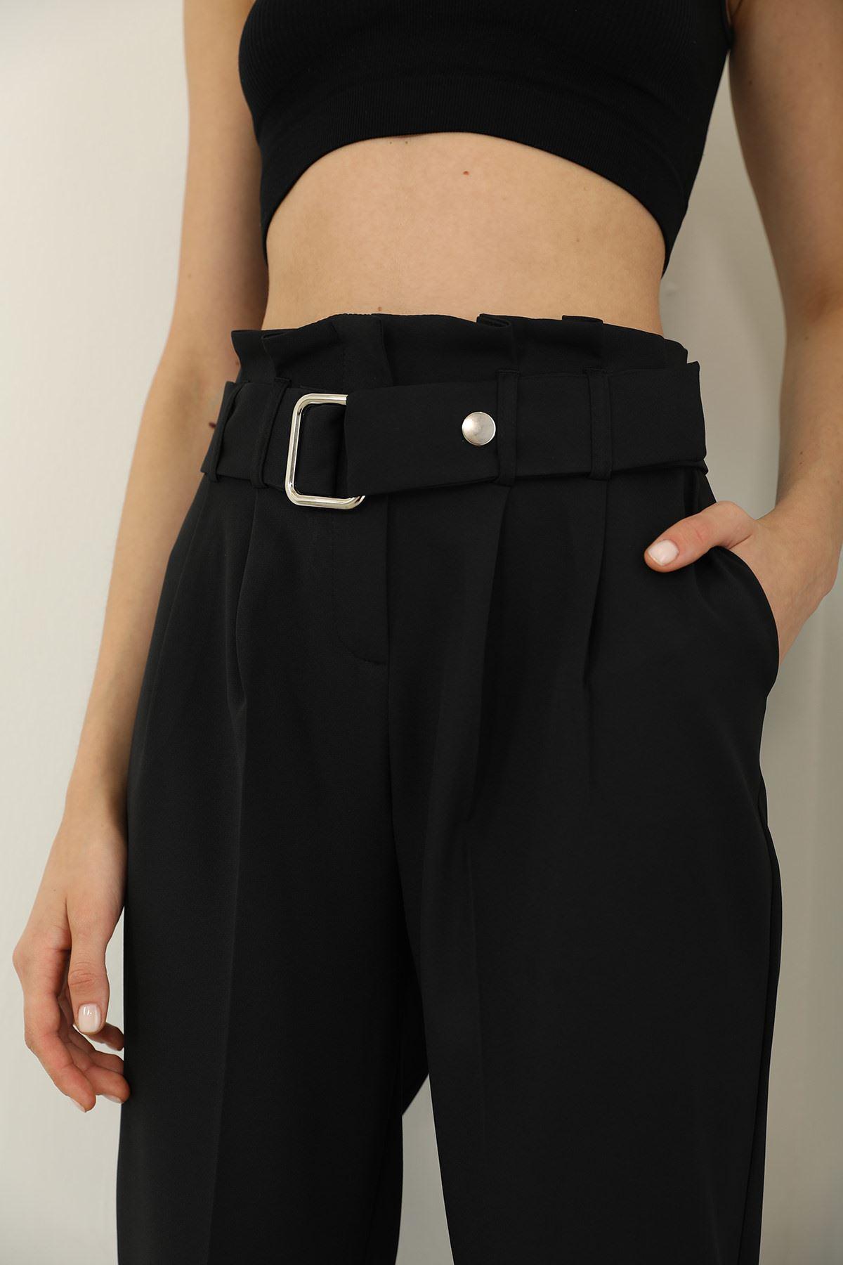 Pileli Kemer Havuç Pantolon-Siyah