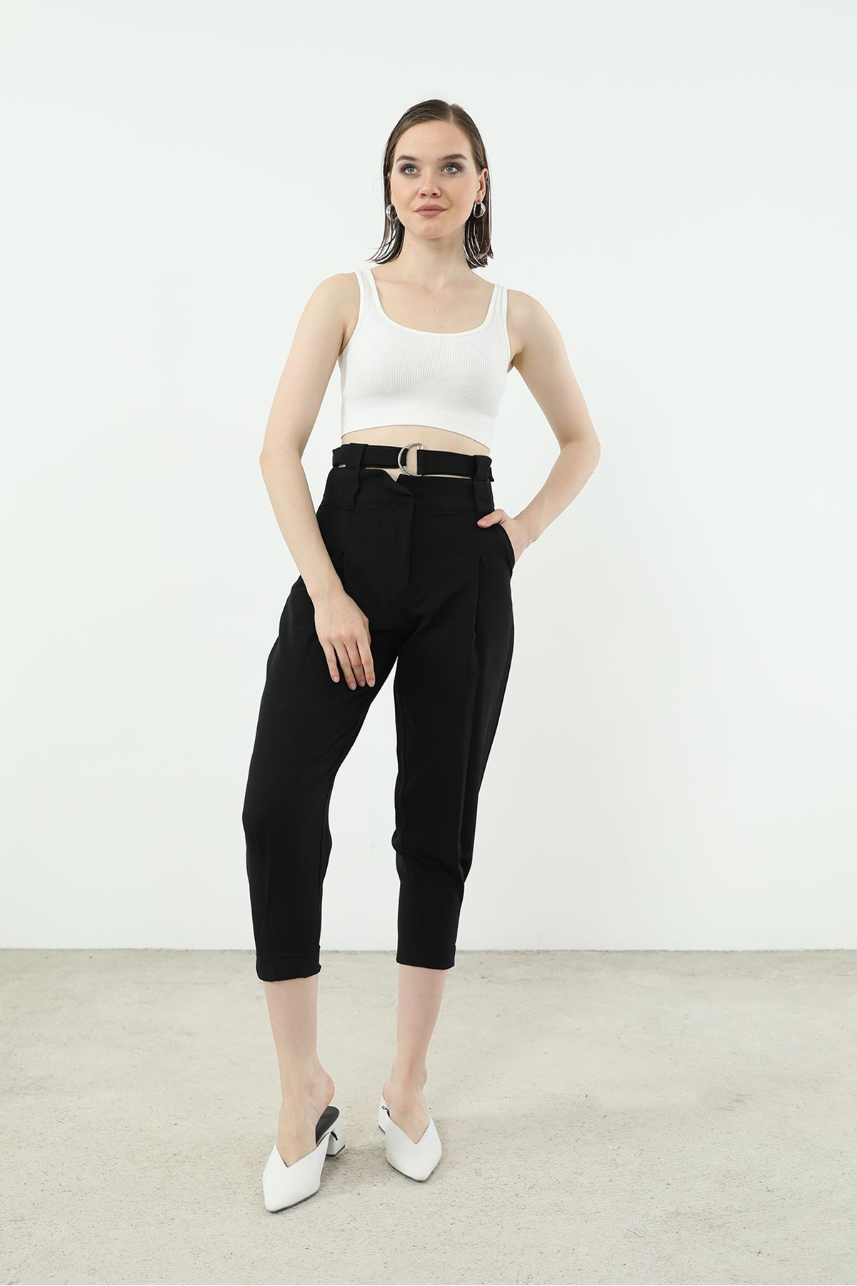 Kemer Detay Pantolon-Siyah
