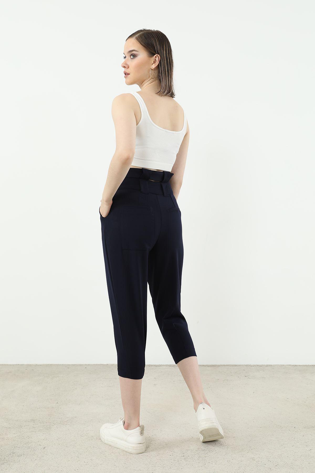 Kemer Detay Pantolon-Lacivert
