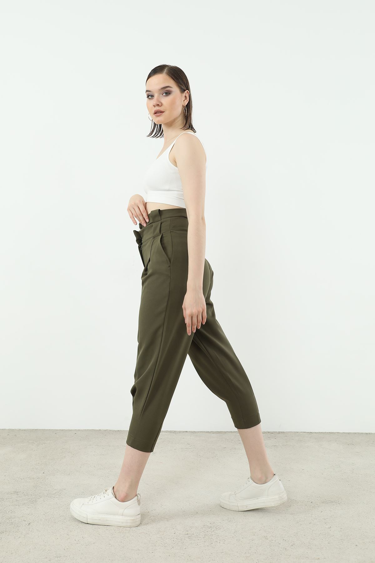 Kemer Detay Pantolon-Haki