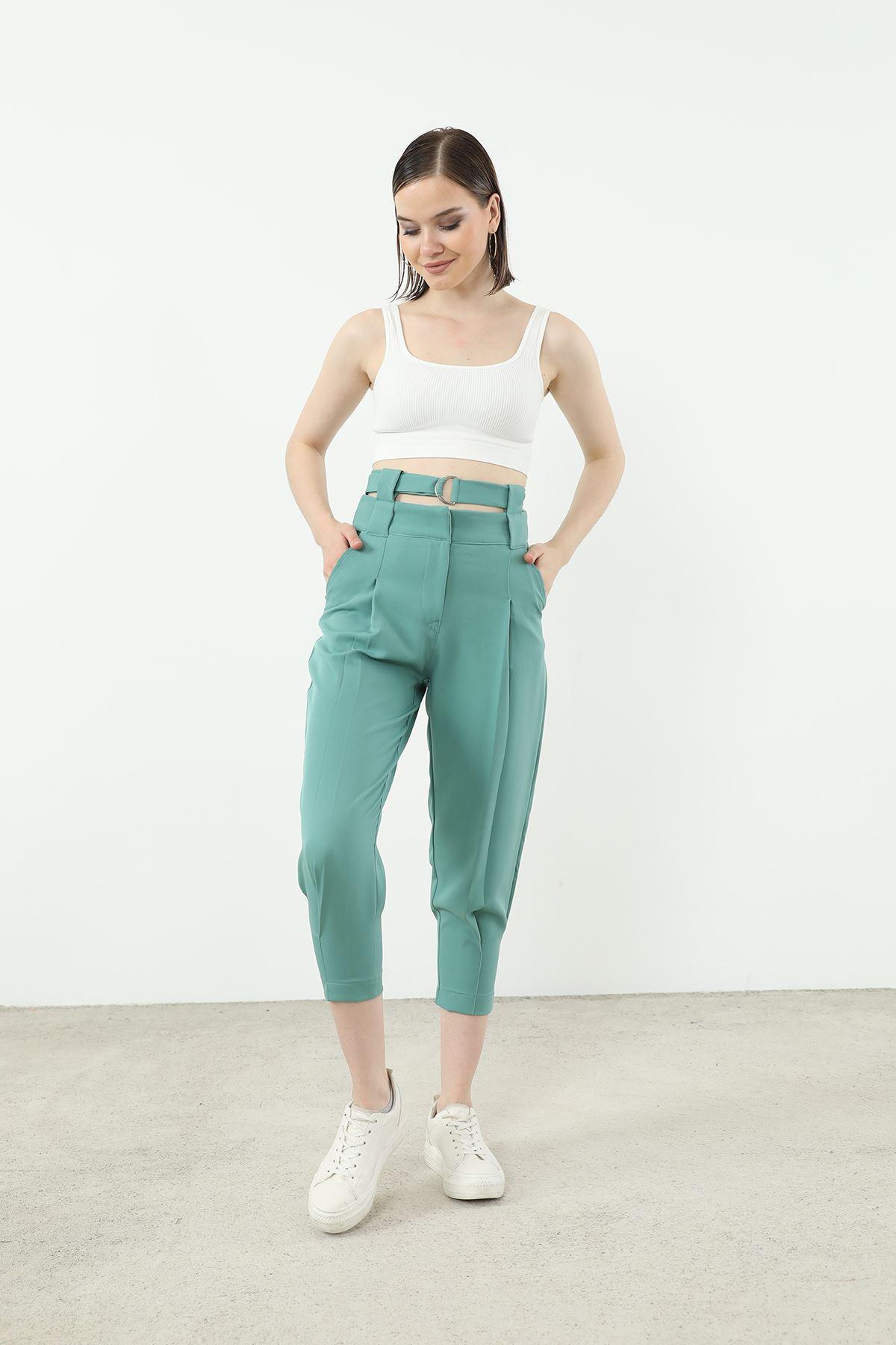 Kemer Detay Pantolon-Mint