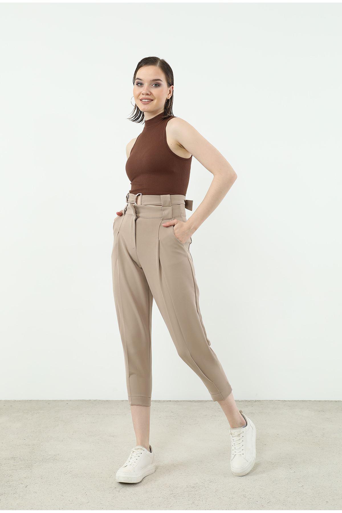 Kemer Detay Pantolon-Vizon