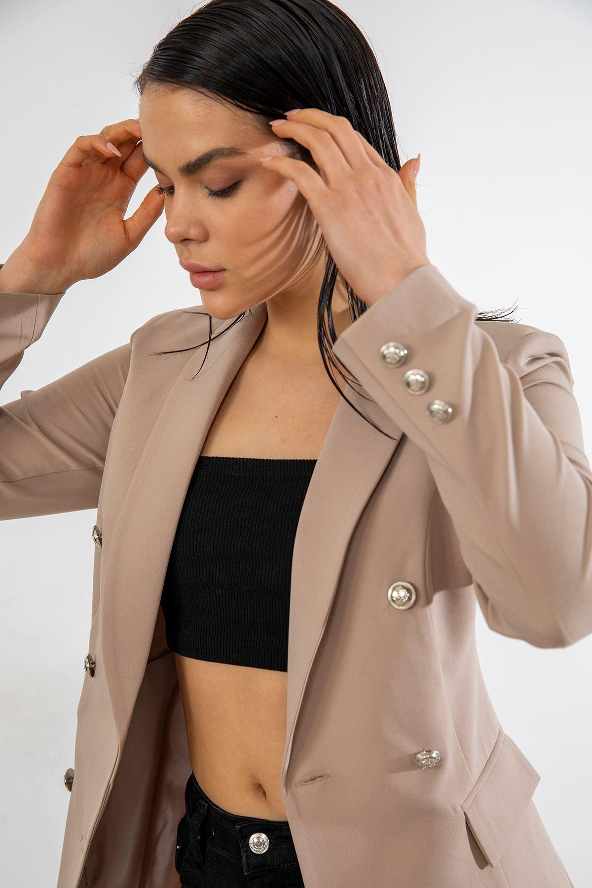 Düğmeli Blazer Ceket-Bej