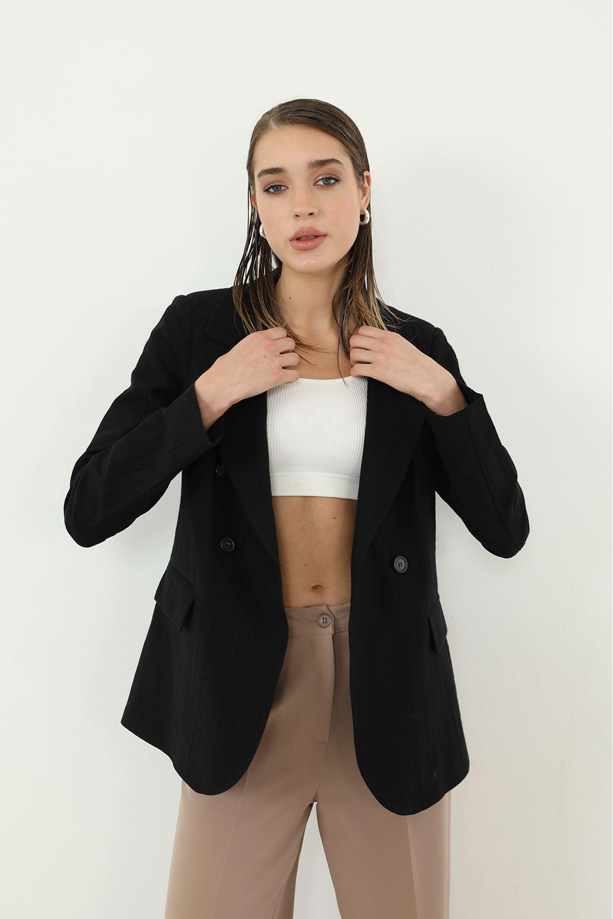 Kruvaze Ceket-Siyah