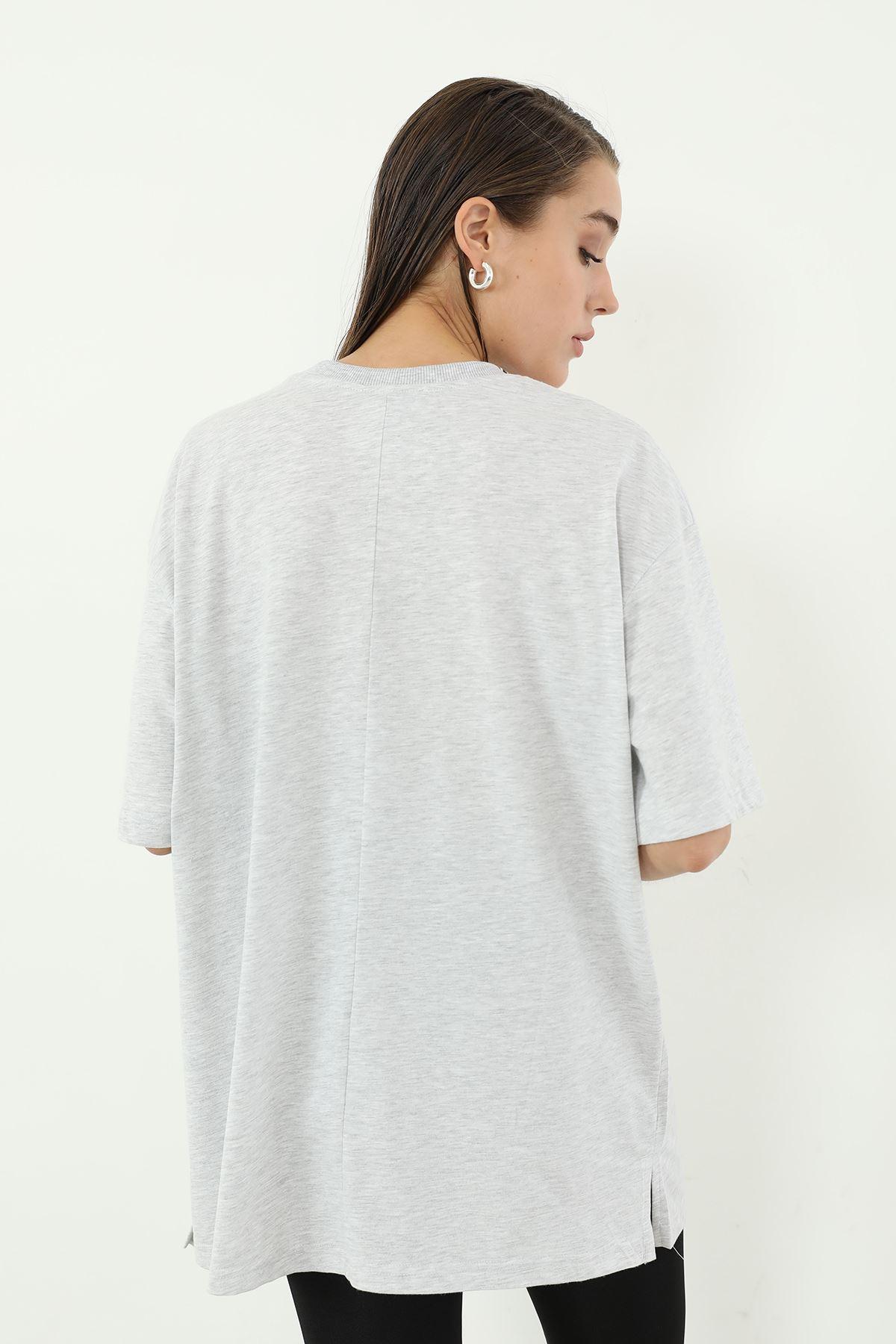 Oversize T-shirt-Gri