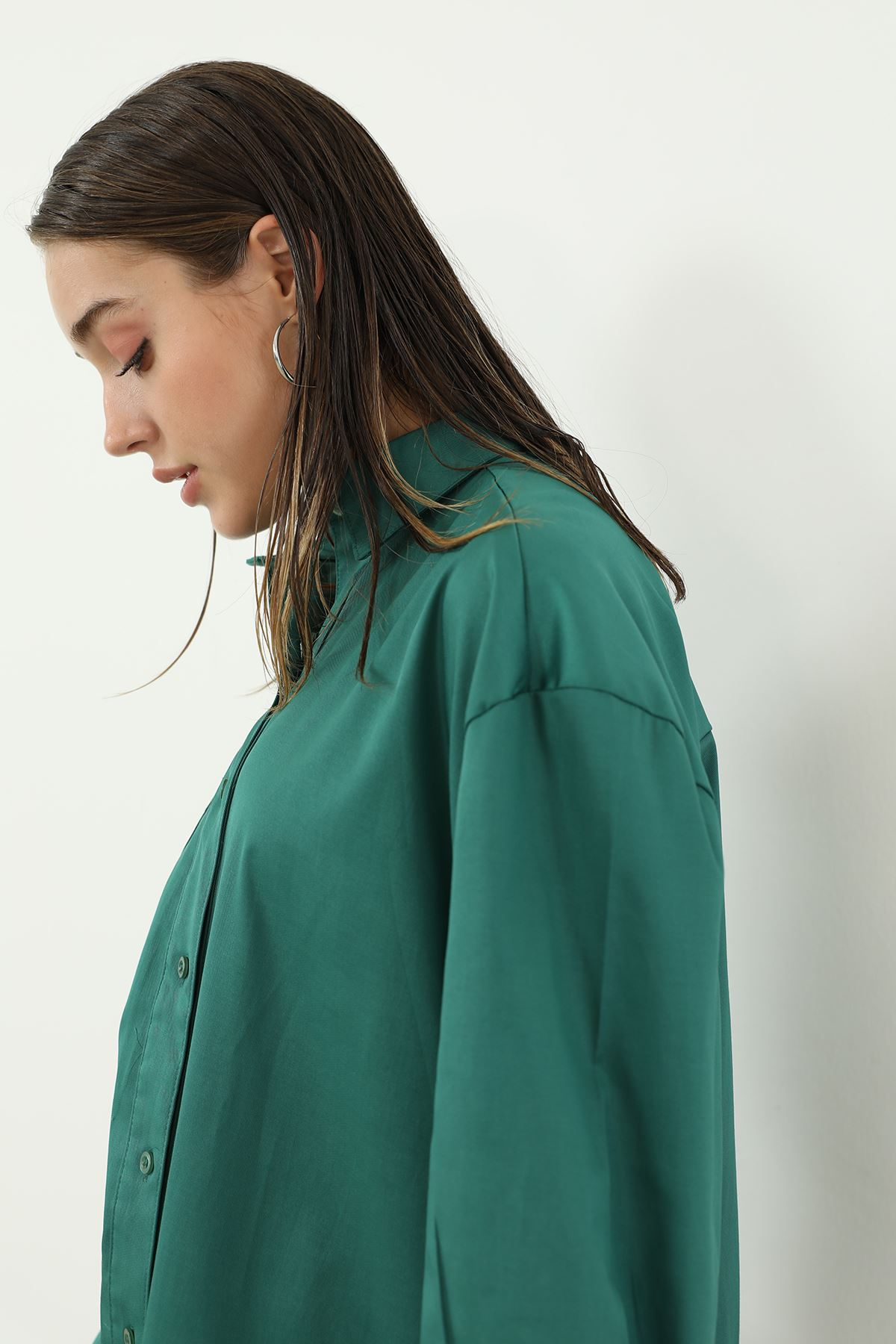 Tek Cep Salaş Gömlek-Yeşil