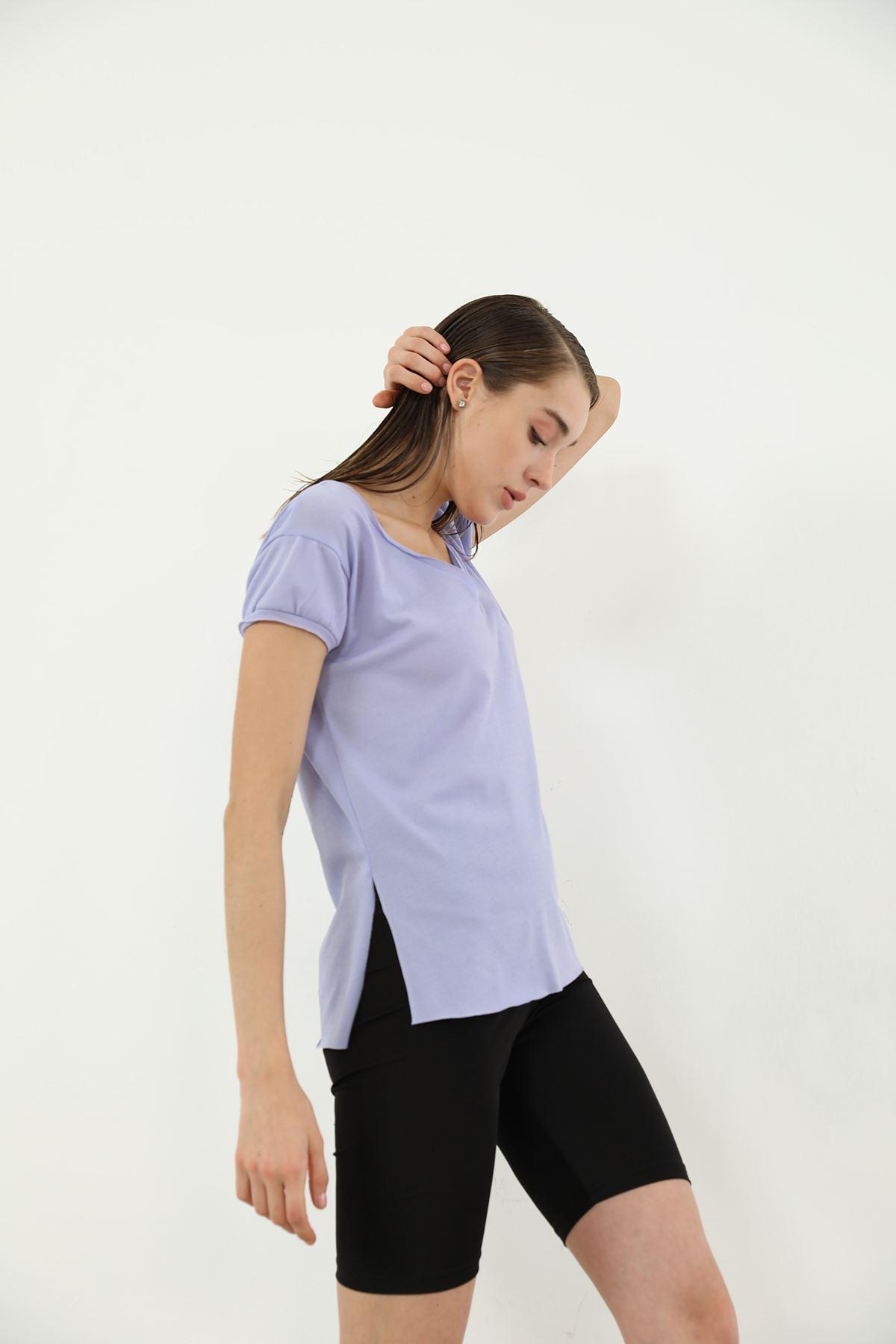 Kısa Kol V Yaka T-shirt-Lila
