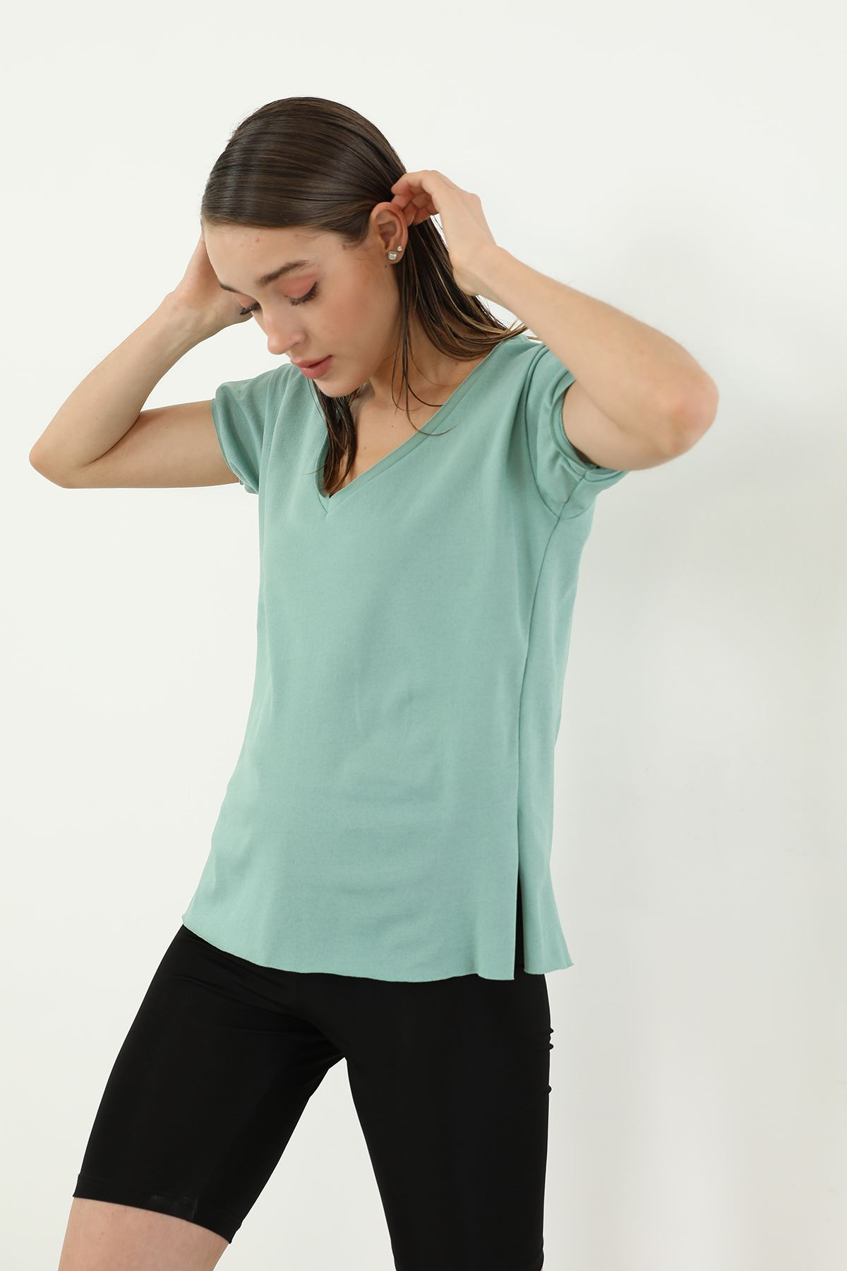 Kısa Kol V Yaka T-shirt-Mint