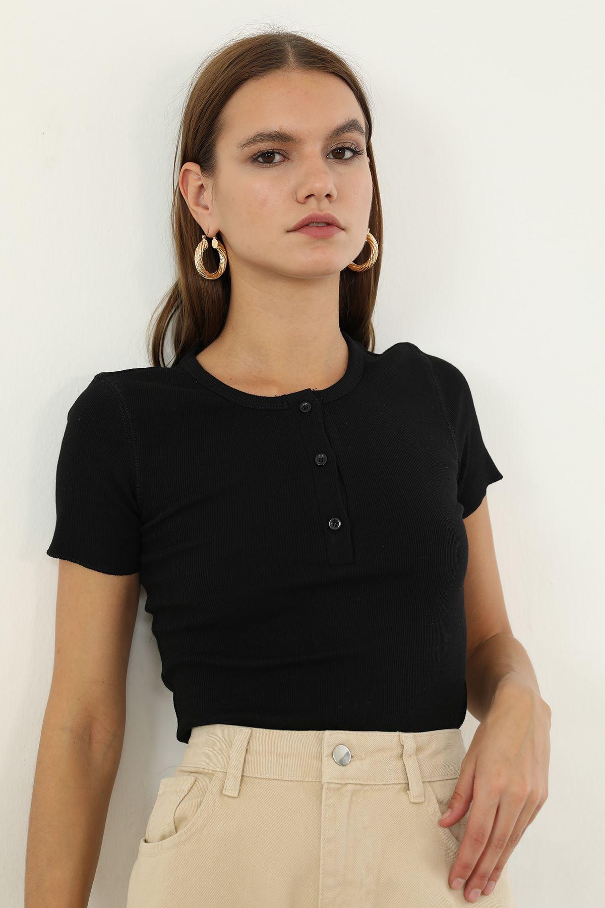 Düğmeli Bluz-Siyah