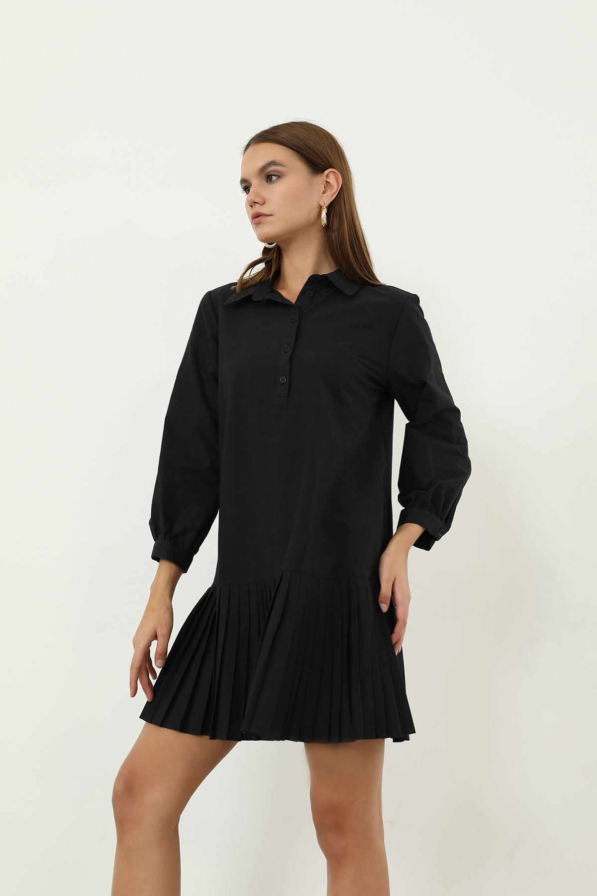 Poplin Piliseli Elbise-Siyah