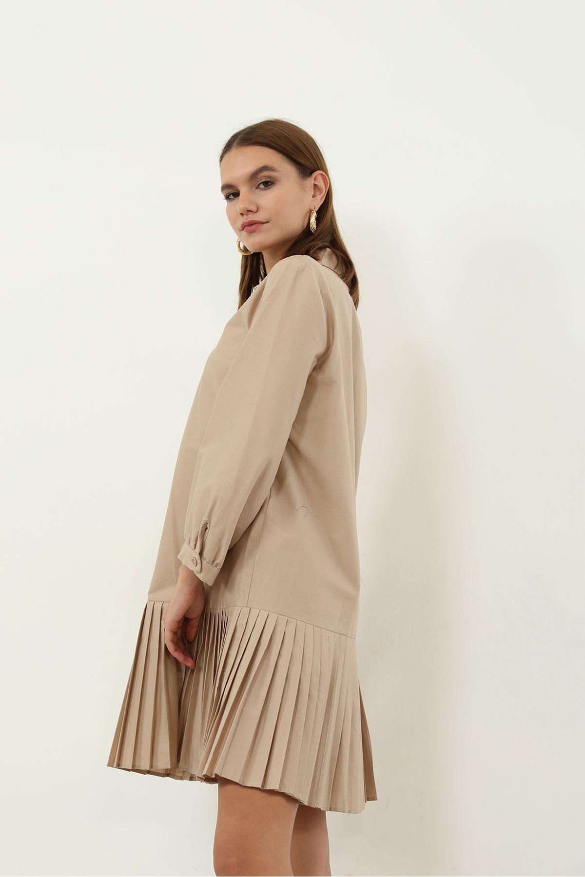 Poplin Piliseli Elbise-Bej