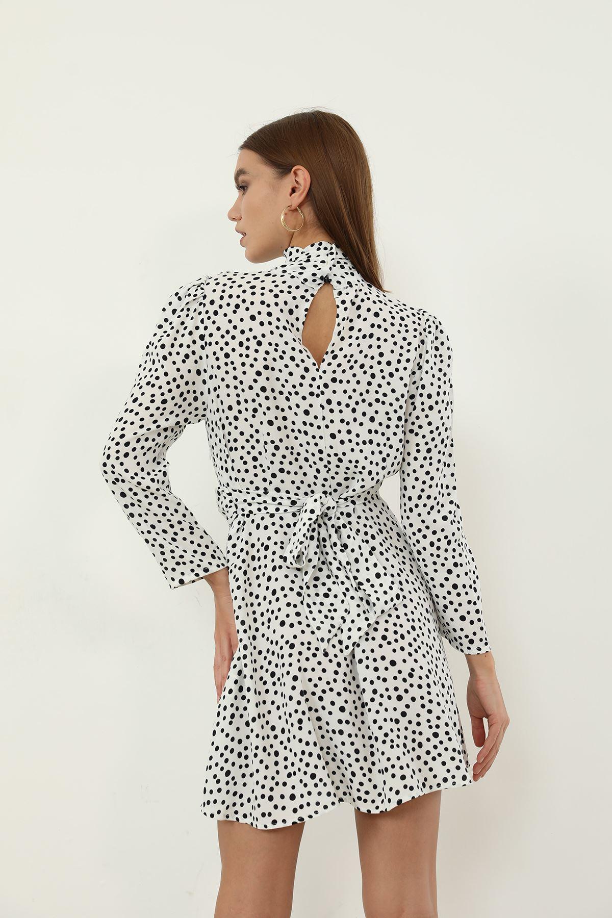 Puantiye Desen Elbise-Beyaz