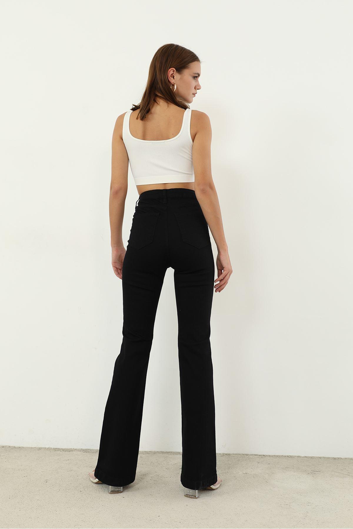 Yüksek Bel Jean Pantolon-Siyah