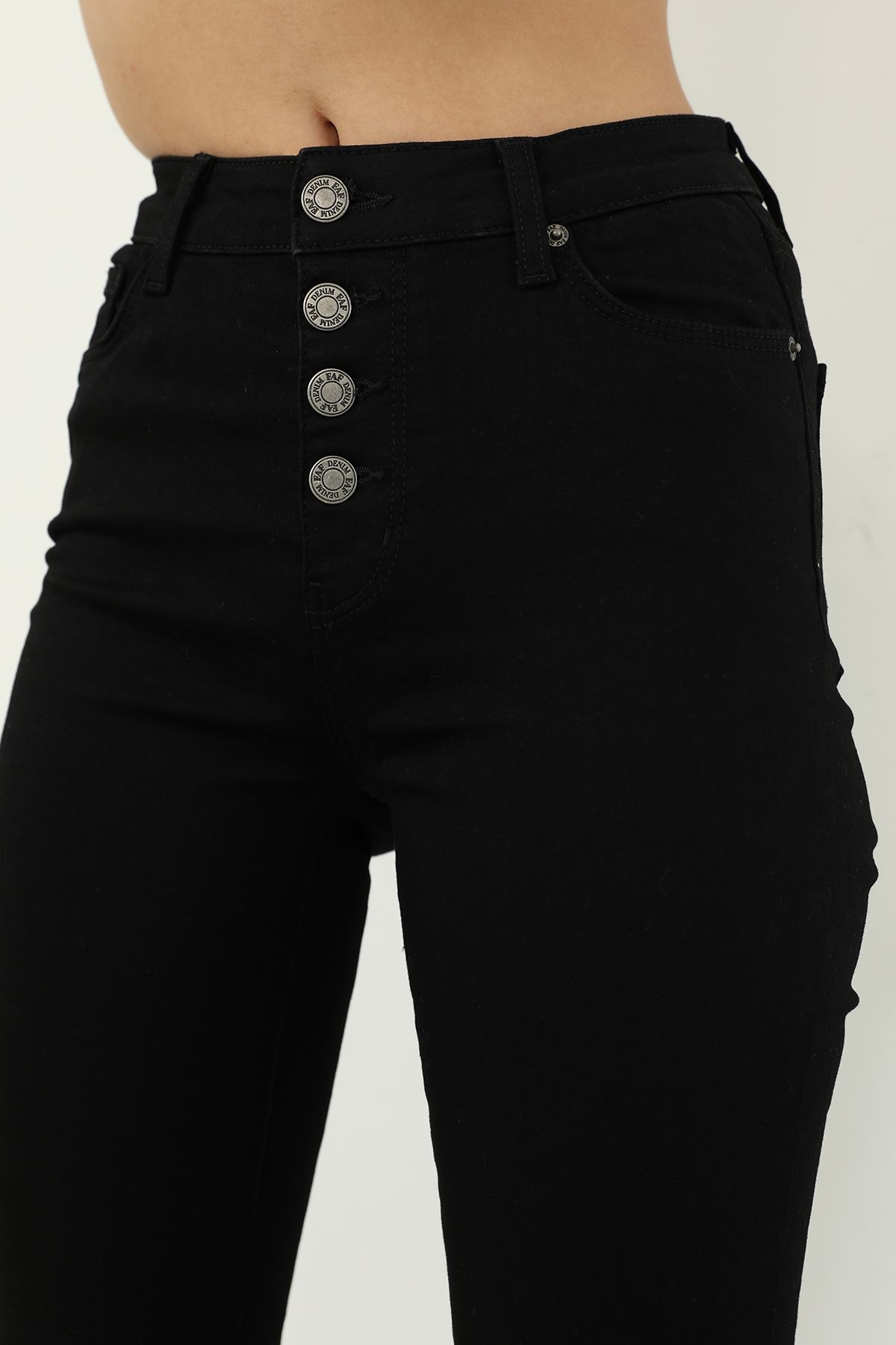 Düğmeli Skinny Jean Pantolon-Siyah