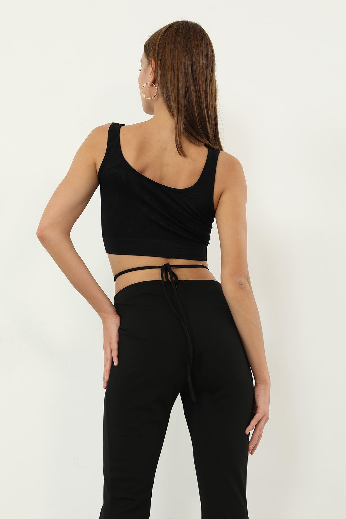 Büzgü Detay Pantolon-Siyah