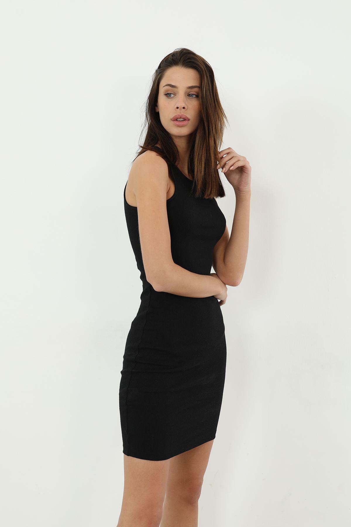 Askılı Kaşkorse Elbise-Siyah