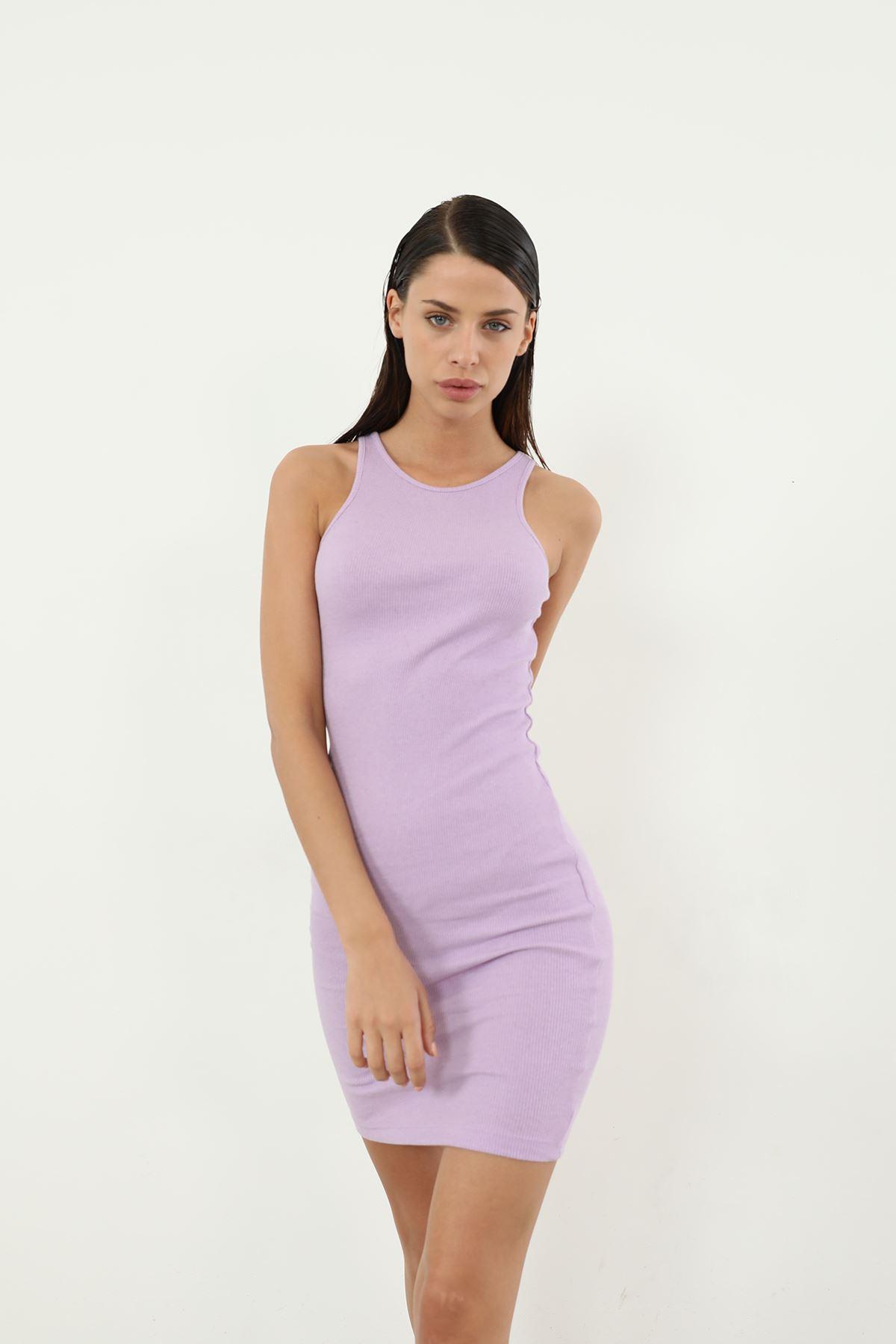 Askılı Kaşkorse Elbise-Lila