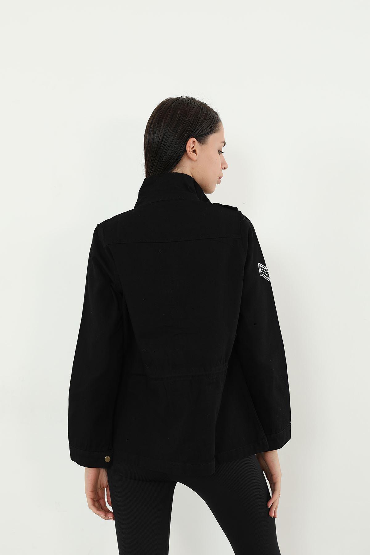 Hakim Yaka Gabardin Ceket-Siyah