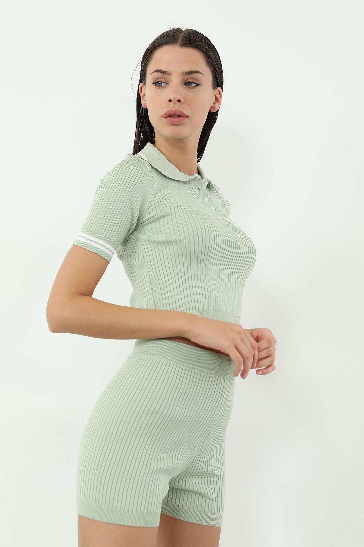 Polo Yaka Şortlu Takım-Mint