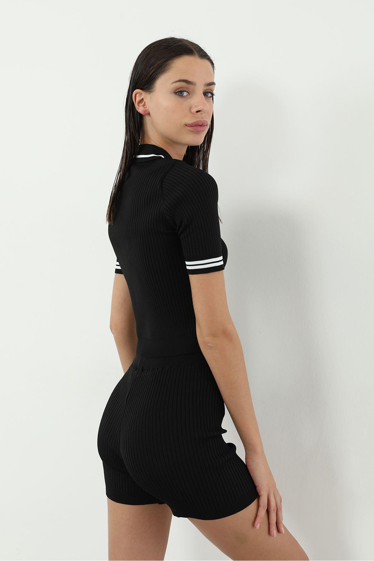 Polo Yaka Şortlu Takım-Siyah