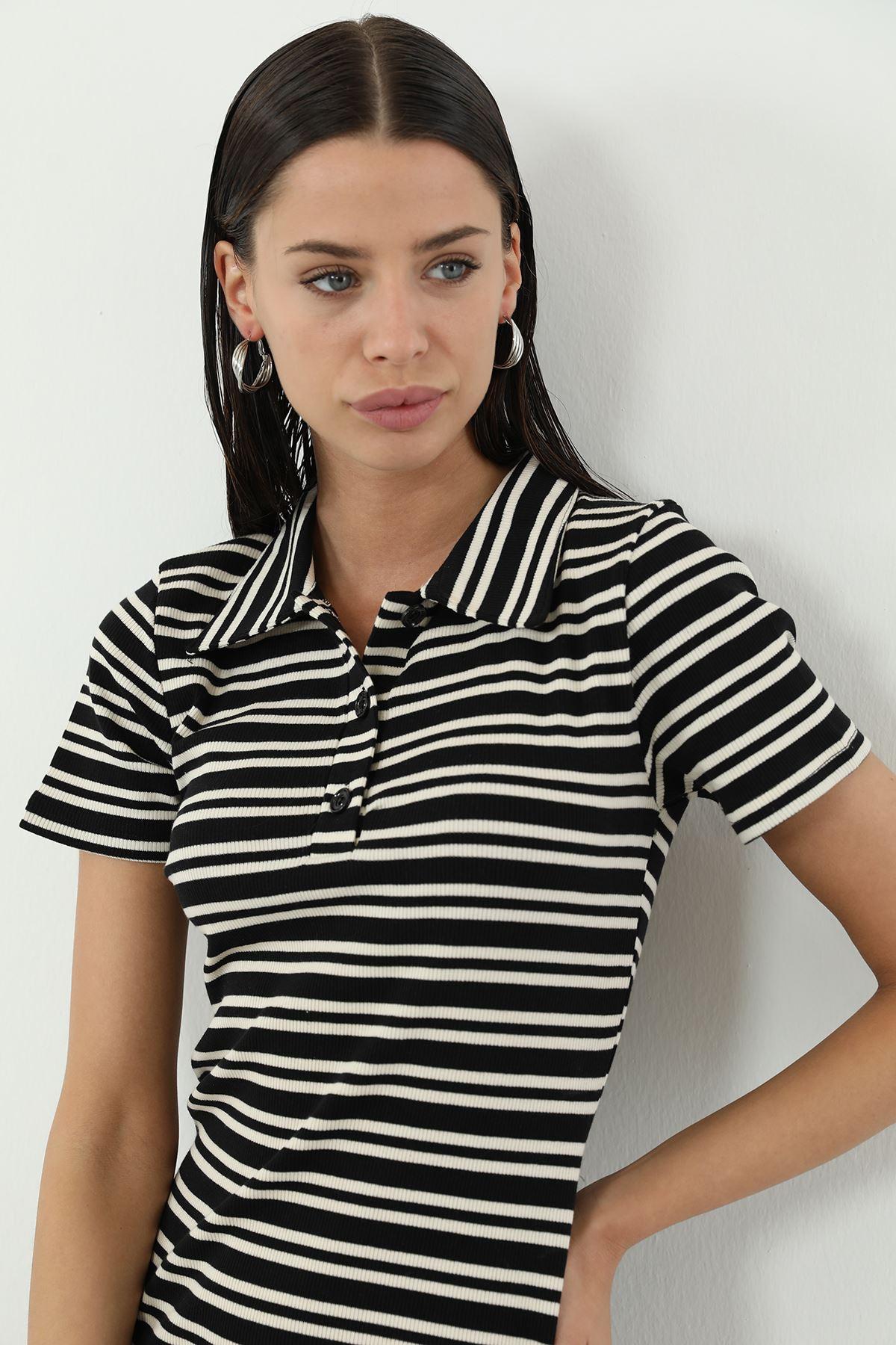 Gömlek Yaka Düğme Kaşkorse Elbise-Siyah