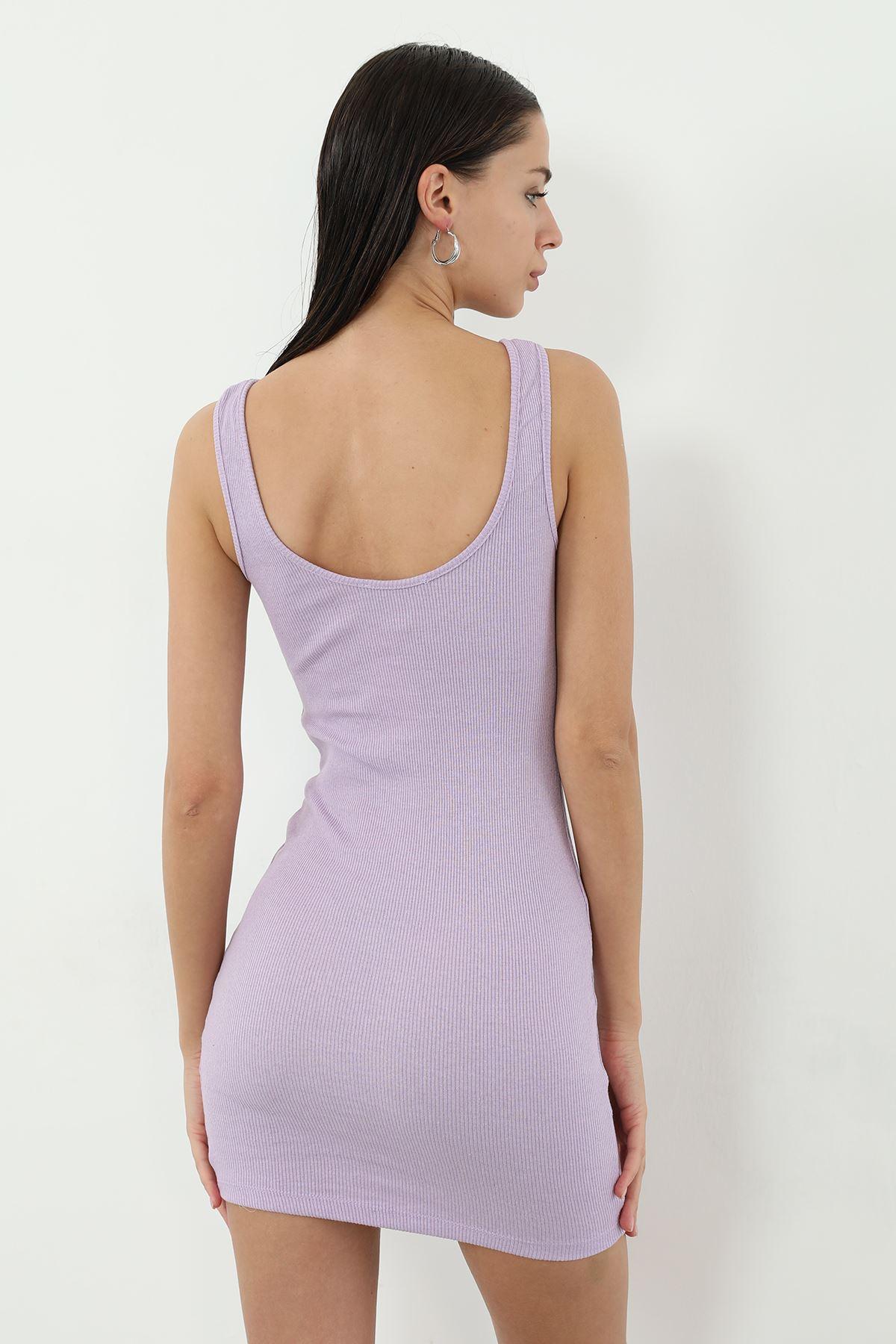 Kaşkorse Askılı Kısa Elbise-Lila