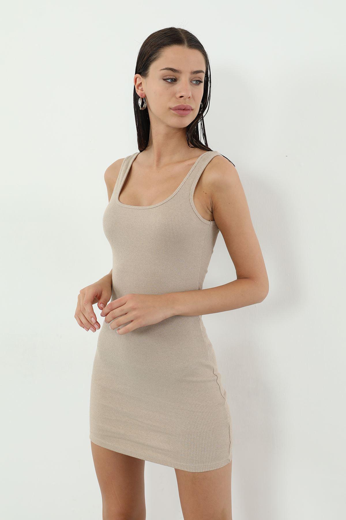 Kaşkorse Askılı Kısa Elbise-Bej