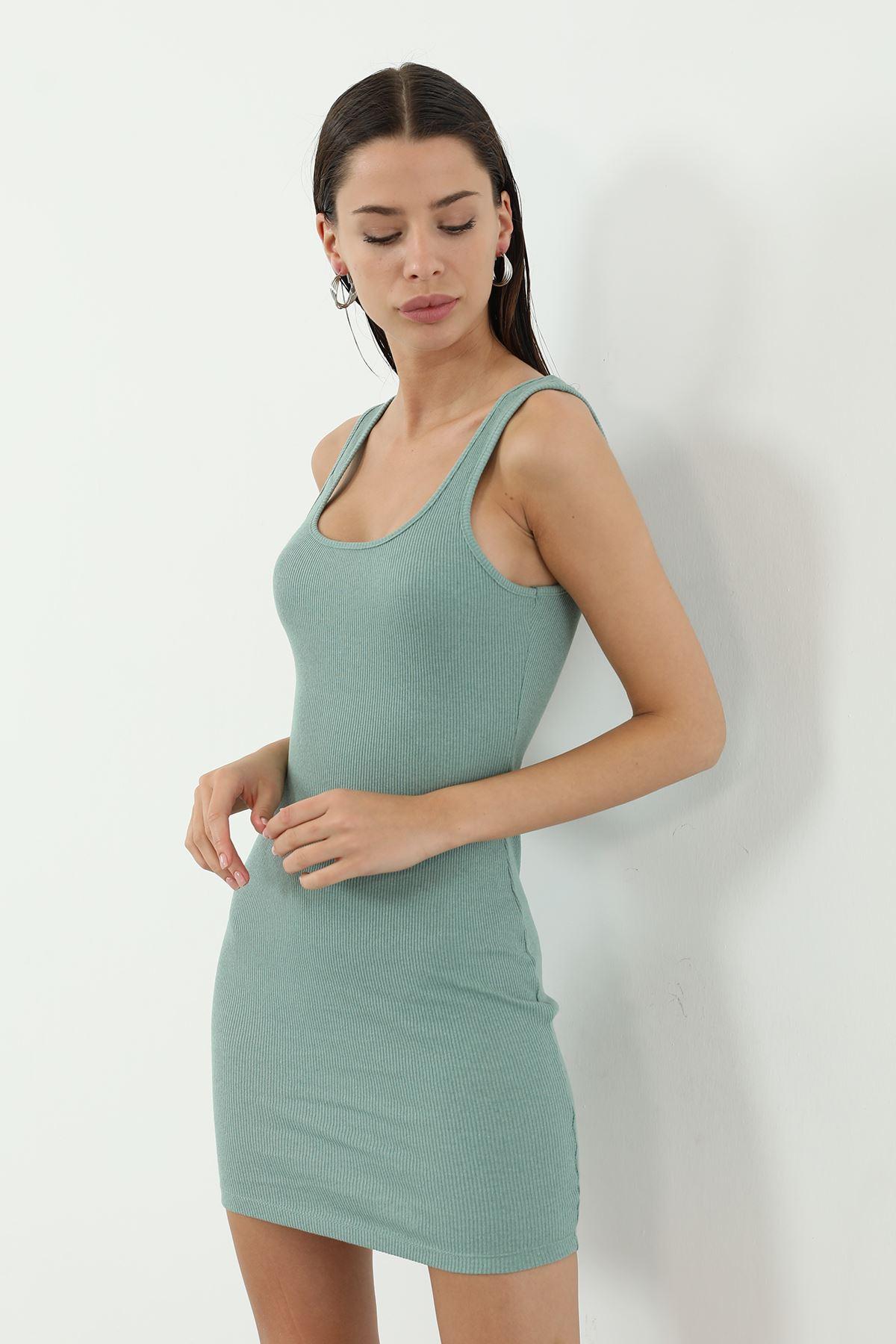 Kaşkorse Askılı Kısa Elbise-Mint