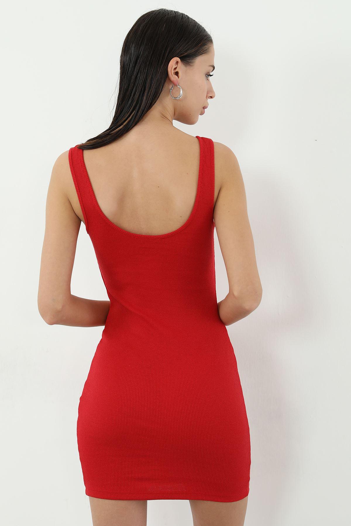Kaşkorse Askılı Kısa Elbise-Kırmızı