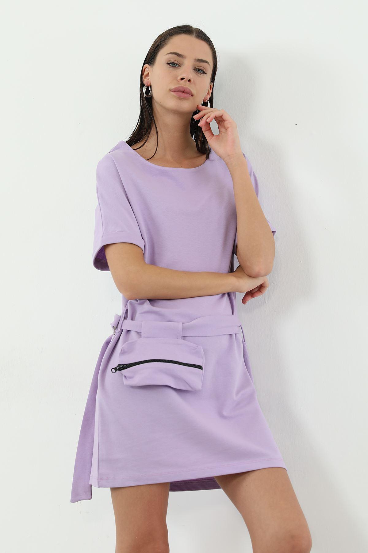 Kemer Çanta Detaylı Elbise-Lila