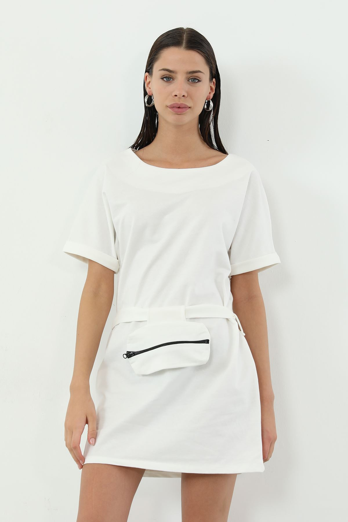Kemer Çanta Detaylı Elbise-Ekru