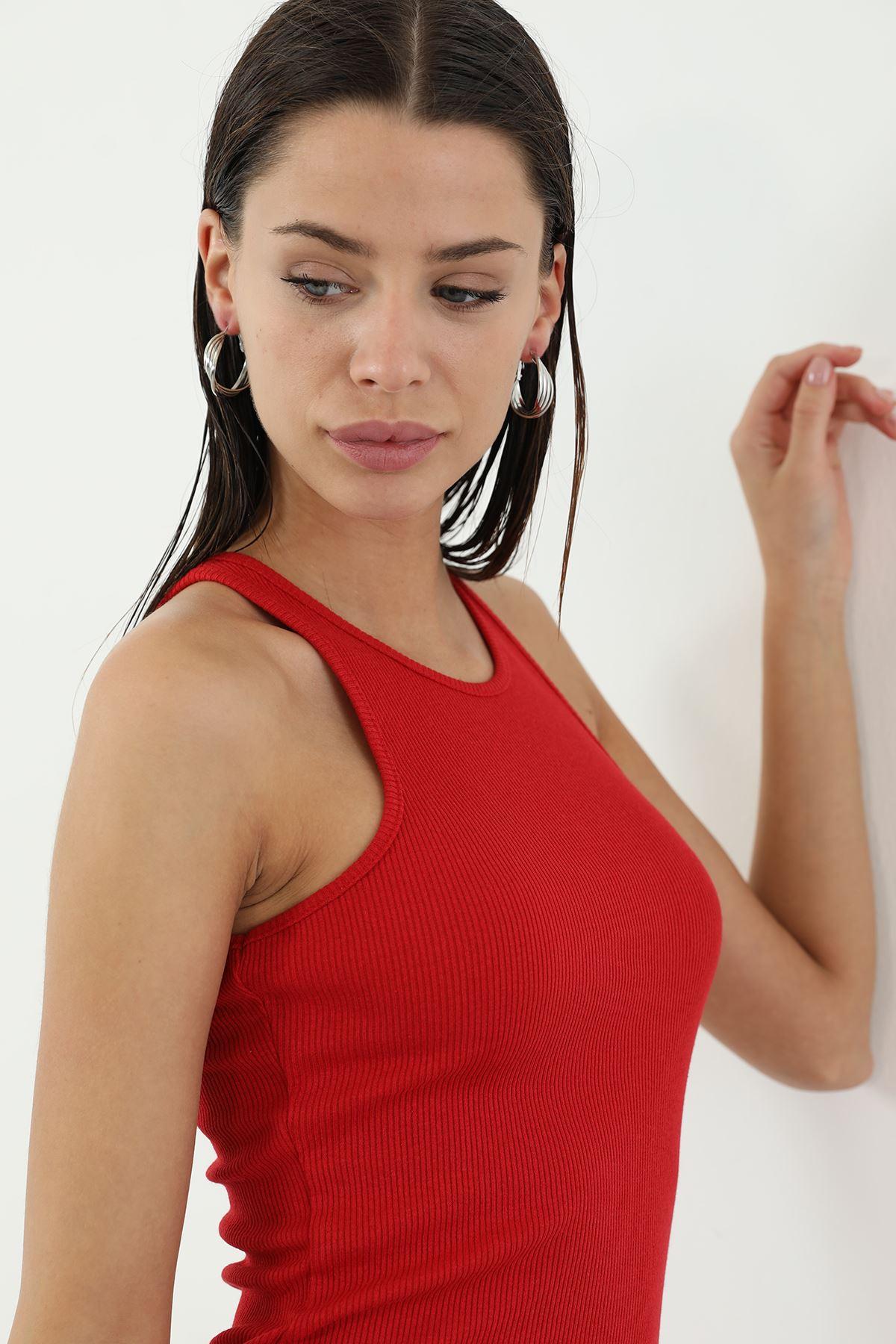Askılı Kaşkorse Elbise-Kırmızı