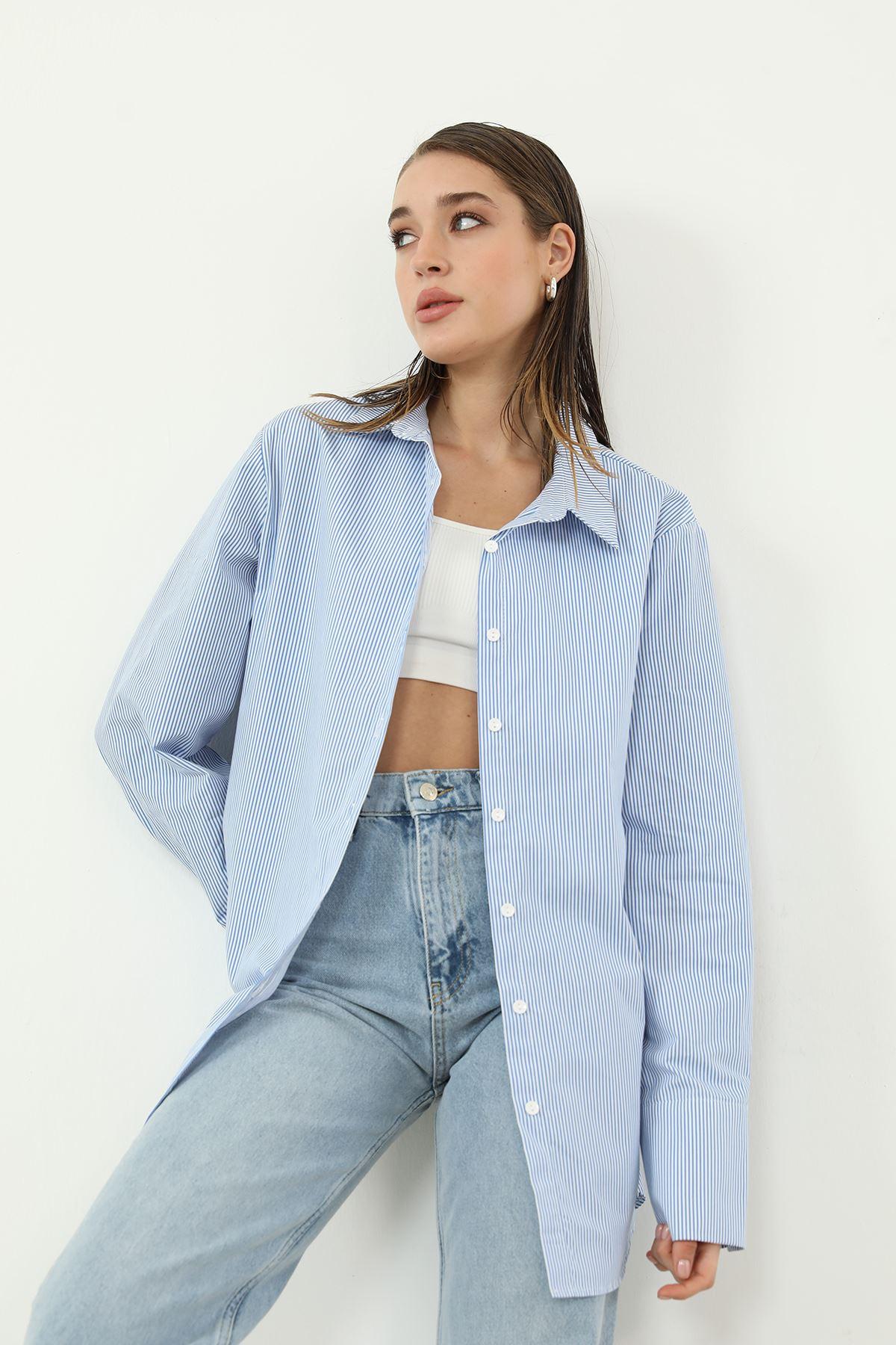 Çizgili Poplin Gömlek-Mavi