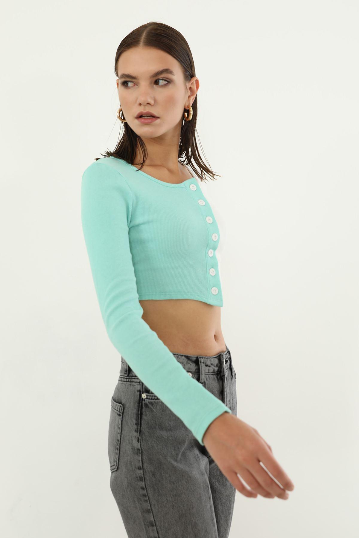 Çift Renk Bluz-Mint