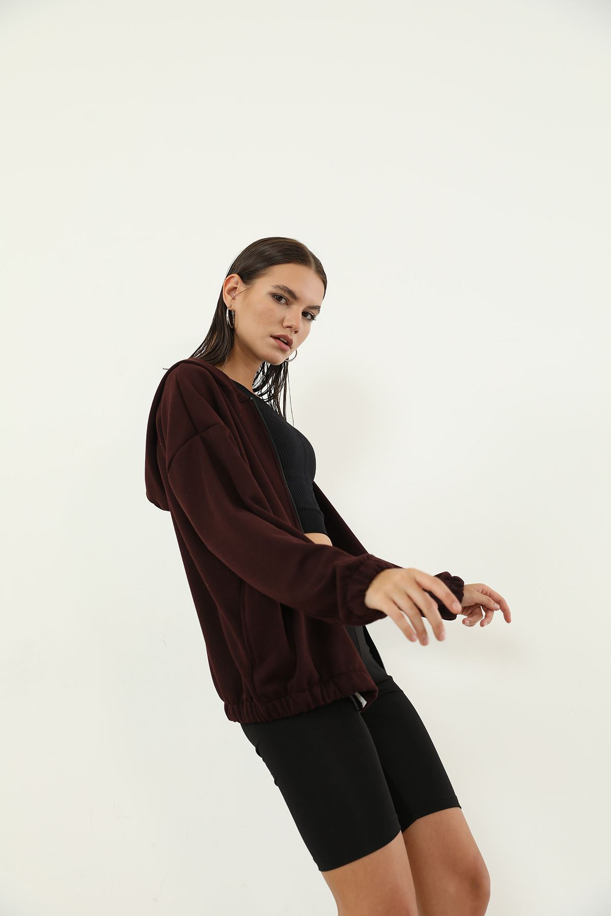 Fermuarlı Sweatshirt-Bordo
