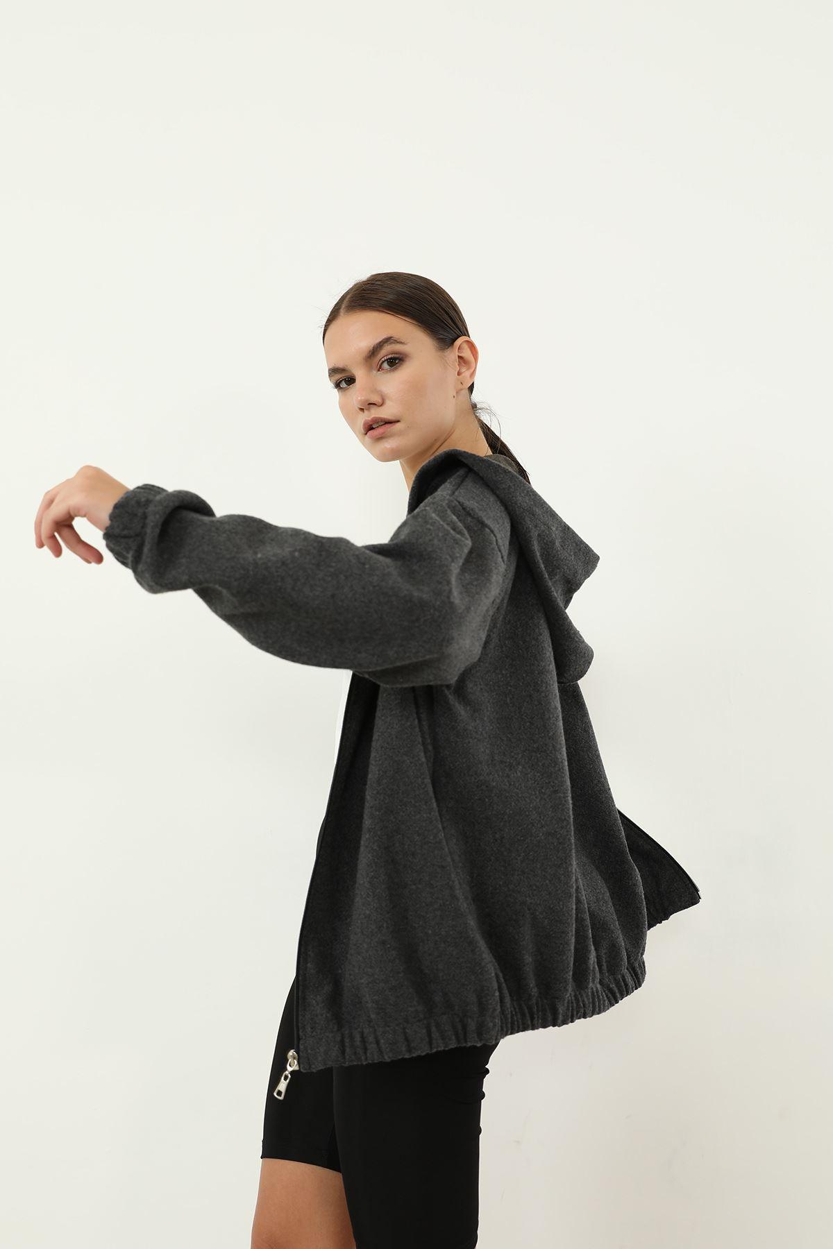 Fermuarlı Sweatshirt-Gri Kırçıllı