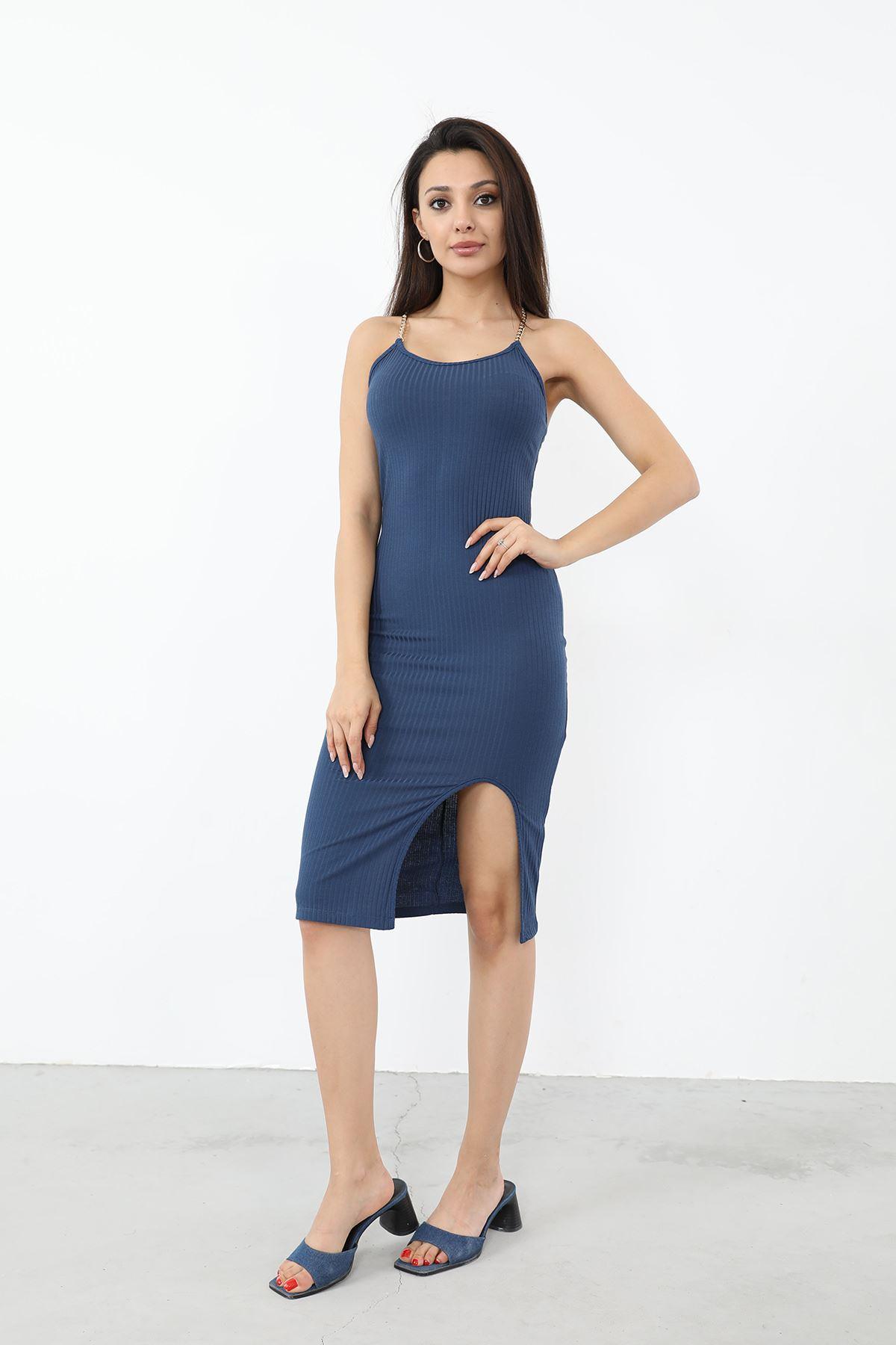 Zincir Askılı Yırtmaçlı Elbise-İndigo