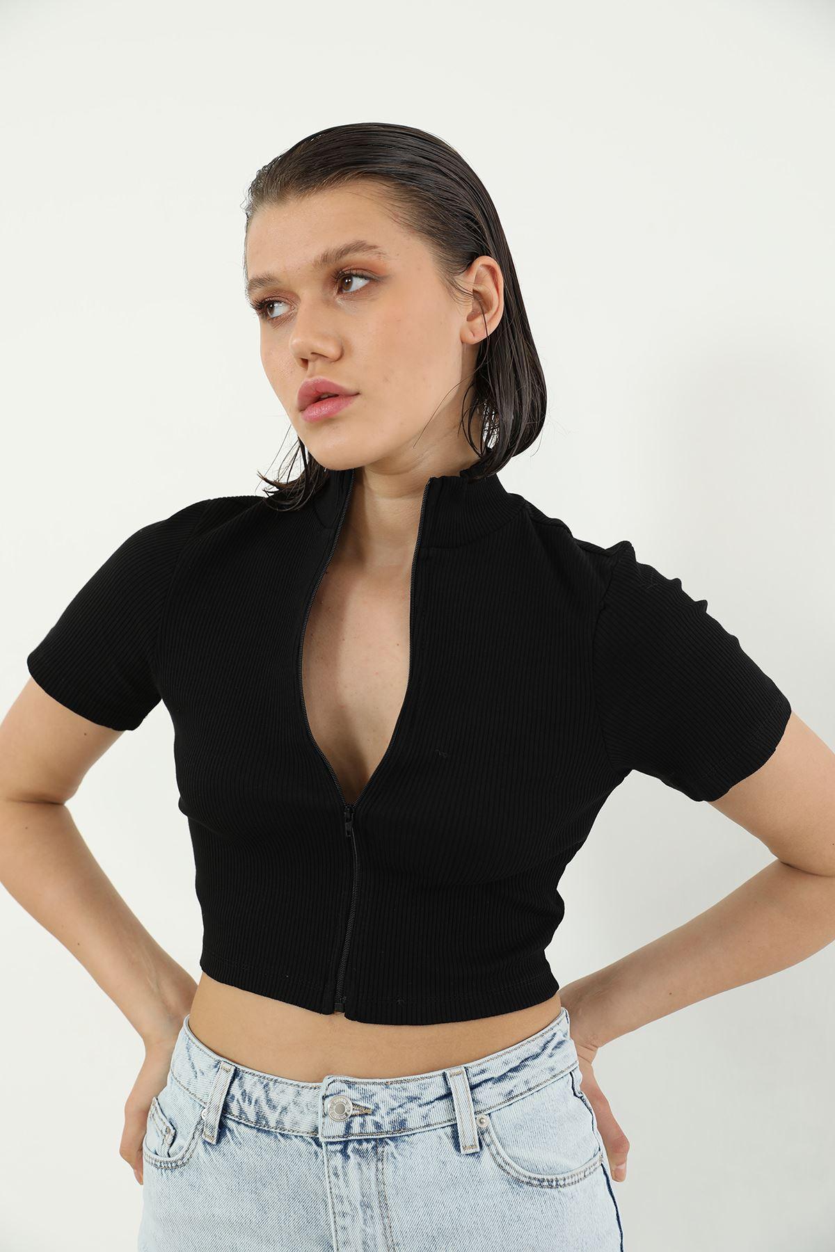 Fermuarlı Bluz-Siyah