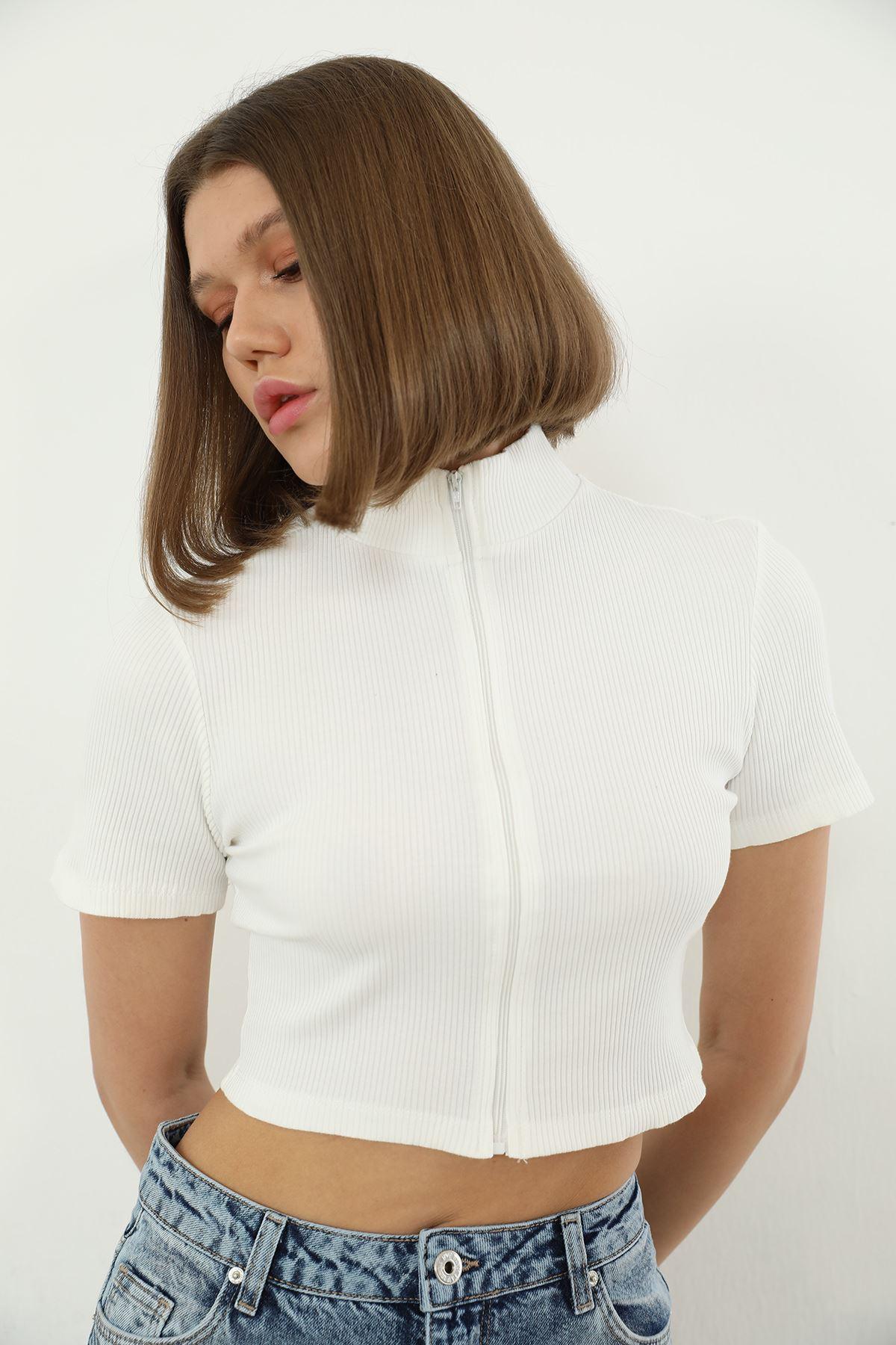 Fermuarlı Bluz-Beyaz