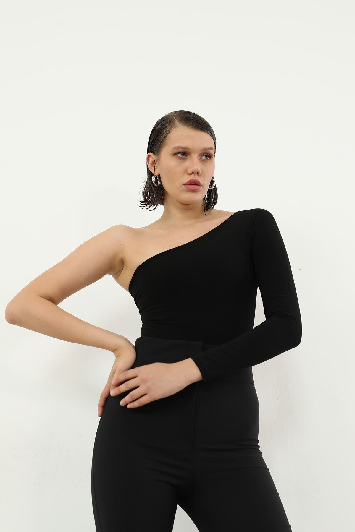 Tek Kol Body Bluz-Siyah