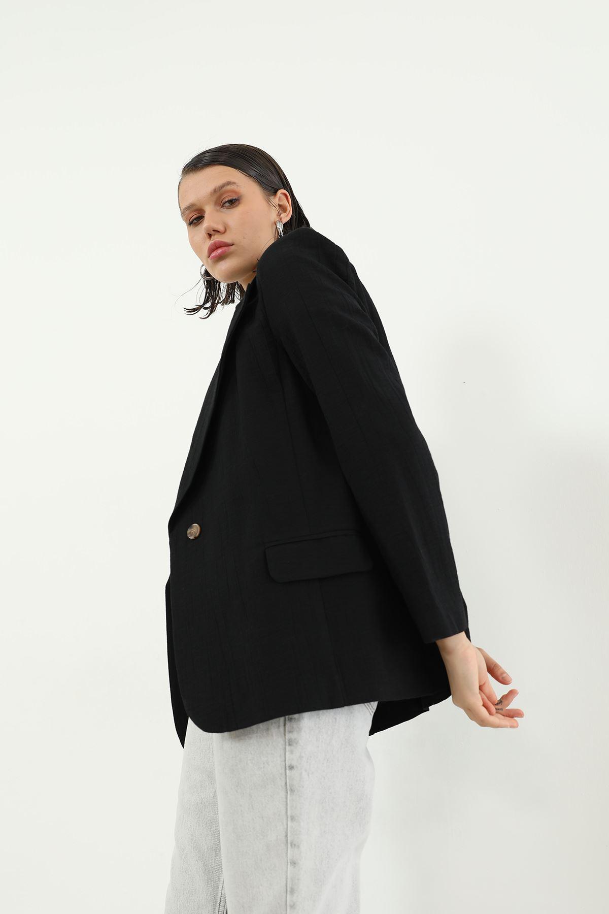 Tek Düğme Ceket-Siyah