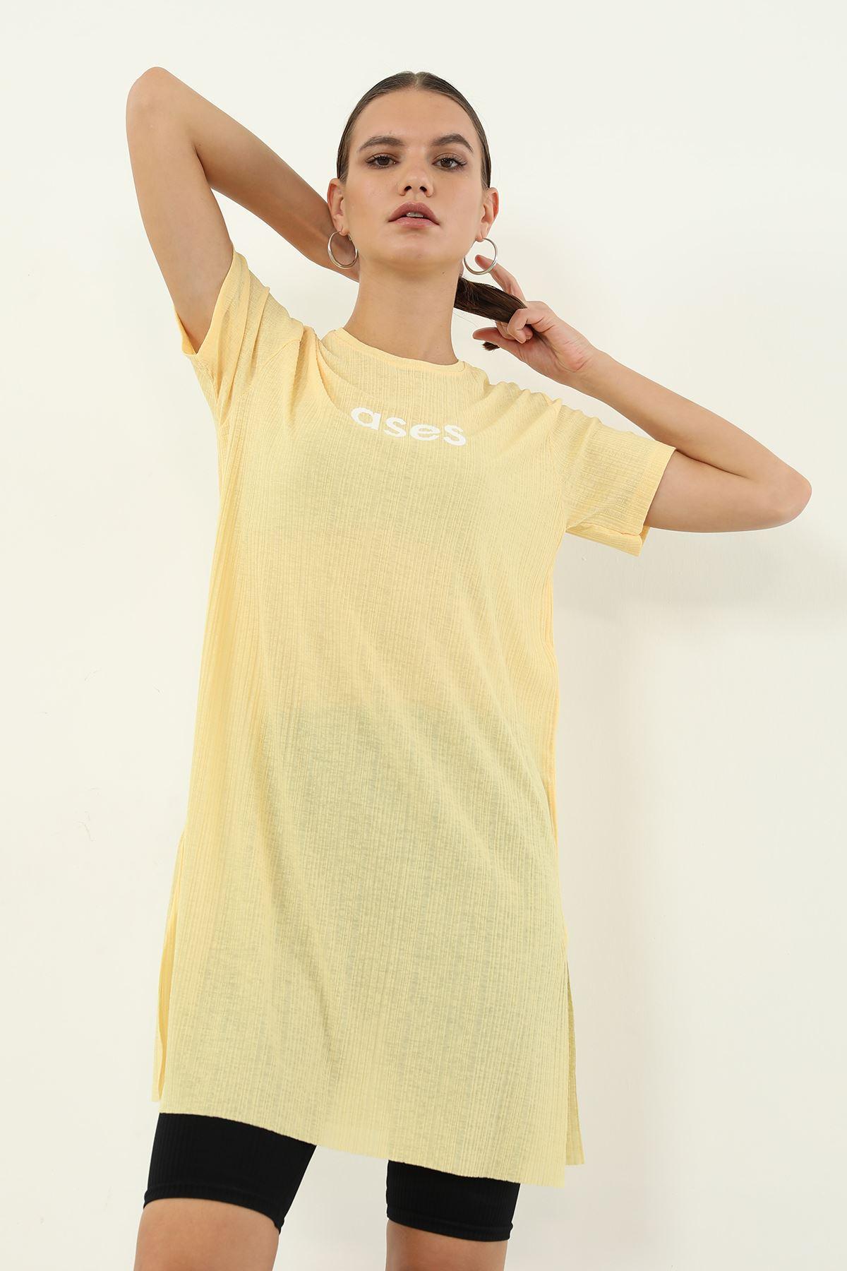 Ases Baskılı T-shirt-Sarı
