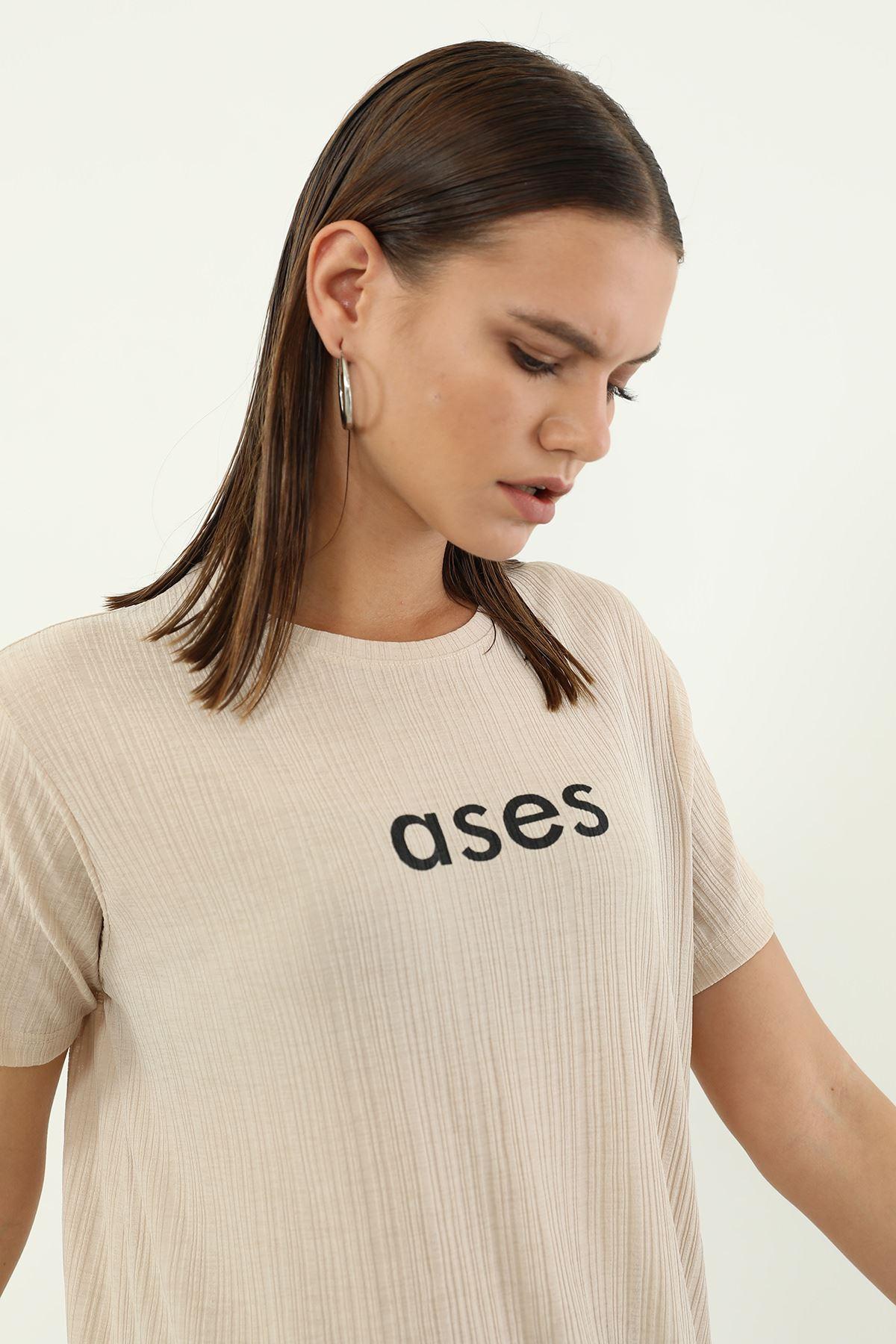 Ases Baskılı T-shirt-Bej