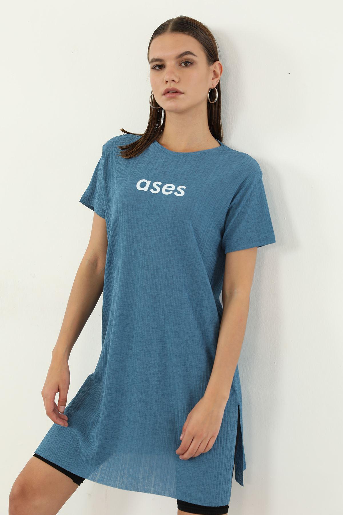 Ases Baskılı T-shirt-İndigo