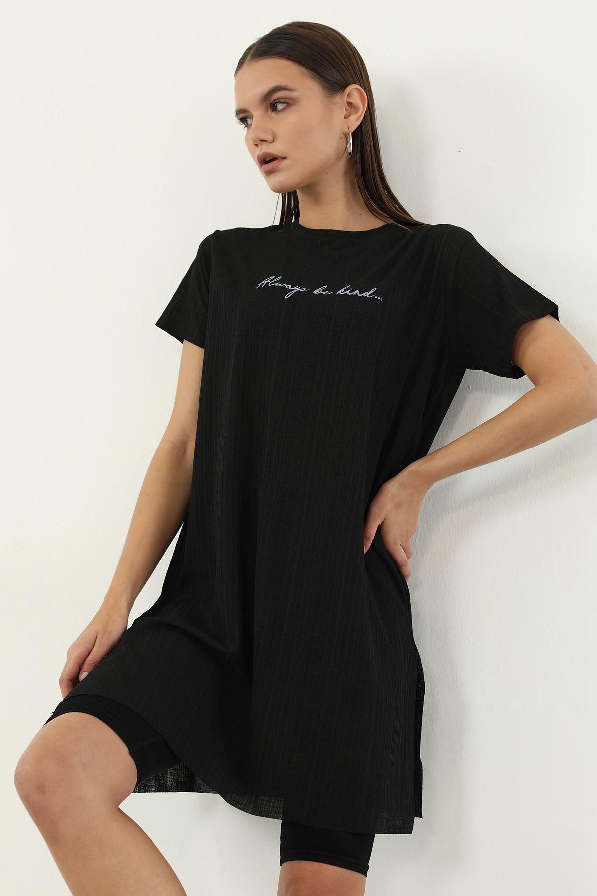 Alwarys Be Kind Baskılı T-shirt-Siyah